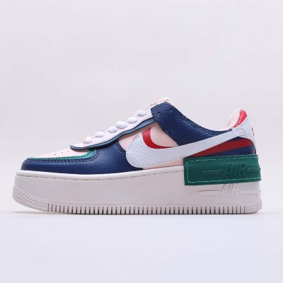 "Nike Air Force 1 Shadow ""Mystic Navy"" Running Shoes AF1 CI0919 400 Unisex Mystic Navy/White-Echo Pink-Gym Red Sneakers"