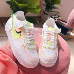 "Nike Air Force 1 Shadow ""Summit White Barely Volt Crimson Tint"" Running Shoes CI0919 107 WMNS AF1 Sneakers"