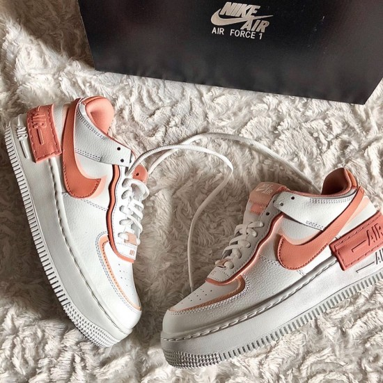 """Nike Air Force 1 Shadow """"White Coral Pink"""" Running Shoes CJ1641 101 WMNS AF1 Sneakers"""
