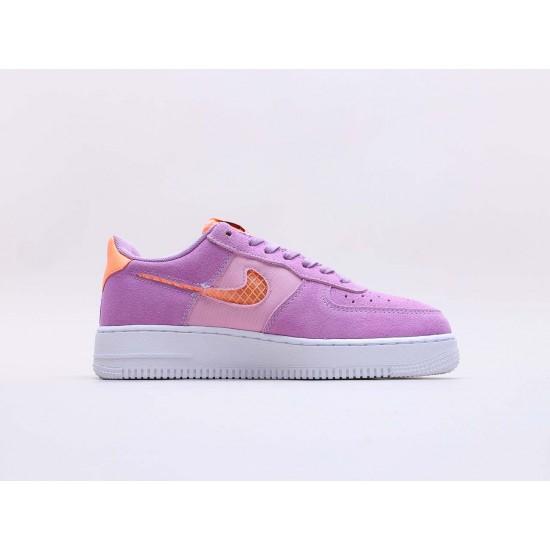 "Nike Air Force 1 ""Violet Star"" Running Shoes CJ1647 500 Unisex Purple Orange AF1 Sneakers"