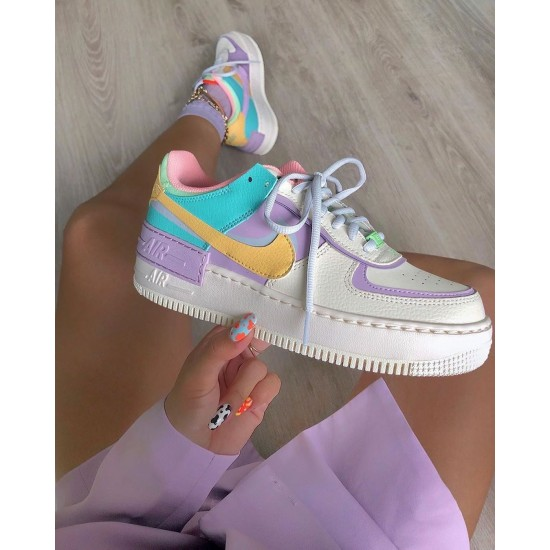 "Nike WMNS Air Force 1 Shadow ""Pale Ivory"" Pale Ivory/Celestial Gold Running Shoes CI0919 101 Womens Sneakers"