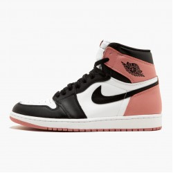 "Air Jordan 1 Retro High ""Rust Pink"" Unisex 861428 101 Pink Black Jordan Sneakers"