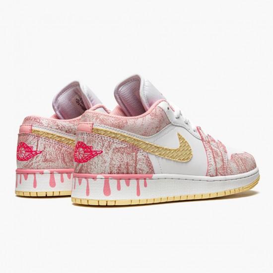 "Air Jordan 1 Low SE GS ""Paint Drip Arctic Punch"" CW7104-601 WMNS AJ1 Jordan Sneakers"