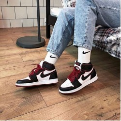 "Nike Air Jordan 1 Retro High ""Bloodline"" Black/Red/White Basketball Shoes 555088 062 Jordan Sneakers"