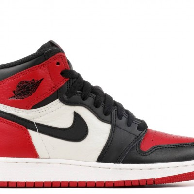 "Nike Air Jordan 1 Retro High Og ""Bred Toe"" Black/Red Basketball Shoes Unisex 575441 610 AJ1 Sneakers"