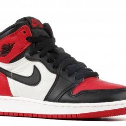 "Nike Air Jordan 1 Retro High Og ""Bred Toe"" Black/Red Basketball Shoes Unisex 575441 610 AJ1 Sneakers"