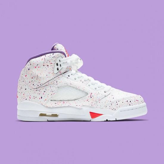 "Nike Air Jordan 5 GS ""Easter"" White/Laser Crimson-Voltage Purple Basketball Shoes CT1605 100 AJ5 Sneakers"