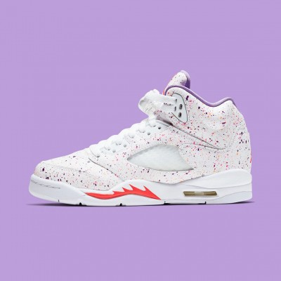 "Nike Air Jordan 5 GS ""Easter"" White/Laser Crimson-Voltage Purple Basketball Shoes CT1605 100 AJ5 Sneakers"