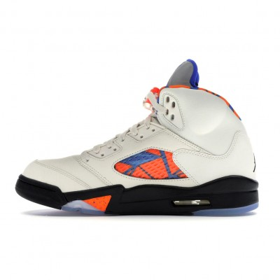"Nike Air Jordan 5 Retro ""International Flight"" Sail/Racer Blue-Cone-Black Basketball Shoes 136027 148 AJ5 Sneakers"