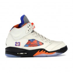 "Nike Air Jordan 5 Retro ""International Flight"" Sail/Racer Blue-Cone-Black Basketball Shoes 136027 148 AJ5 Sneakers"
