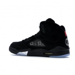 "Nike Air Jordan 5 Retro ""Paris Saint-Germain"" Black/Challenge Red-White Basketball Shoes AV9175 001 AJ5 Sneakers"