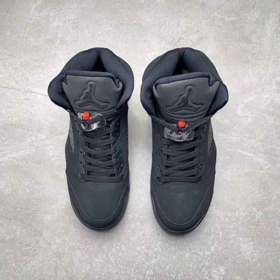 "Nike Air Jordan 5 Retro ""Paris Saint-Germain"" Black/Challenge Red-White Basketball Shoes AV9175 001 AJ5 Sneakers"
