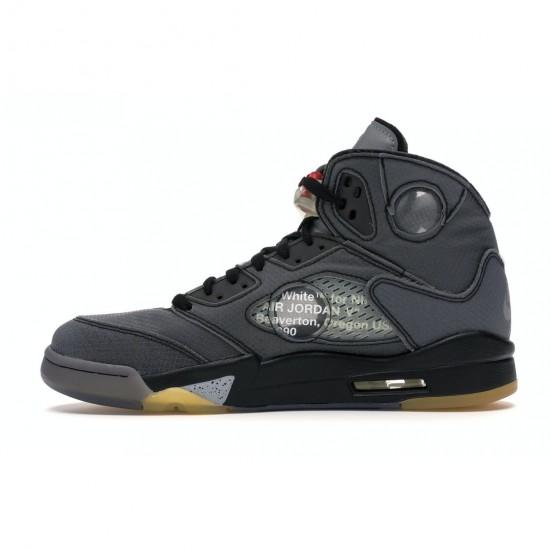 "OFF-WHITE x Air Jordan 5 Retro ""Muslin"" Black/Muslin-Fire Red Basketball Shoes CT8480 001 AJ5 Sneakers"