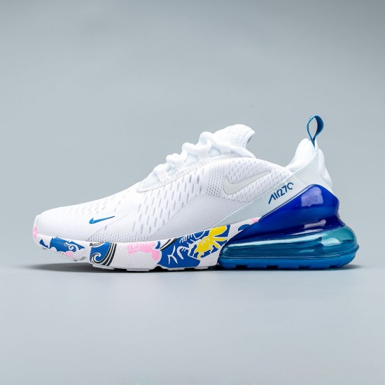 2020 Nike Air Max 270 React Blue White Running Shoes AH8050 012 Unisex Sneakers