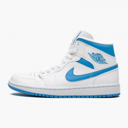"Air Jordan 1 Mid WMNS ""UNC"" Blue White Basketball Shoes AJ1 BQ6472-114 Sneakers"