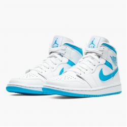 "Air Jordan 1 Mid WMNS ""UNC"" Blue White Basketball Shoes AJ1 BQ6472-114 Sneakers"