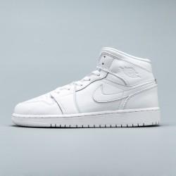 "2020 Nike Air Jordan 1 Mid BG ""Triple White"" All White Basektball Shoes 554725-129 AJ1 Unisex Sneakers"