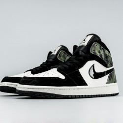 "Nike Air Jordan 1 Mid ""Camo"" Basketball Shoes CW5490-001 Unsex AJ1 Sneakers"