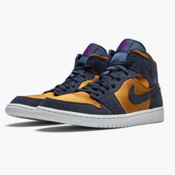 Nike Air Jordan 1 Mid Obsidian Desert Ochre Basketball Shoes 852542-401 AJ1 Mens Sneakers
