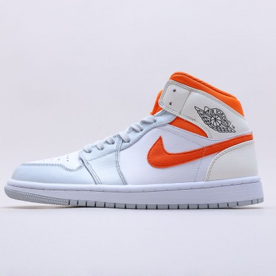 "Nike Air Jordan 1 Mid ""Starfish"" White/Orange/Gray Basketball Shoes CW7591 100 AJ1 Unisex Sneakers"