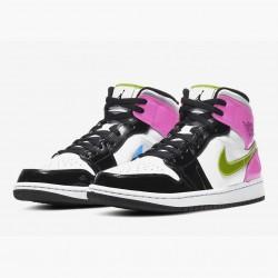 "Nike Air Jordan 1 Mid GS ""Patent Multi"" Basketball Shoes AJ1 CZ9834 100 Unisex Sneakers"